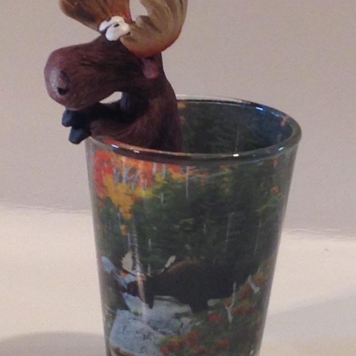 Peeking moose shot glass